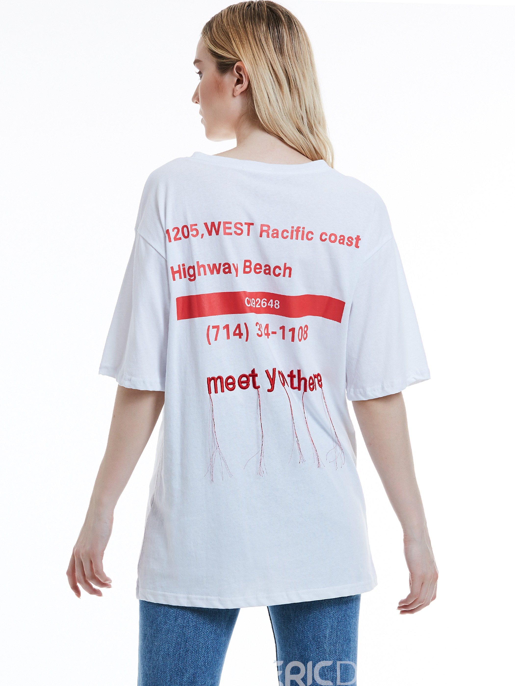 Ericdress Loose Letter Embroidery Women's T-shirt