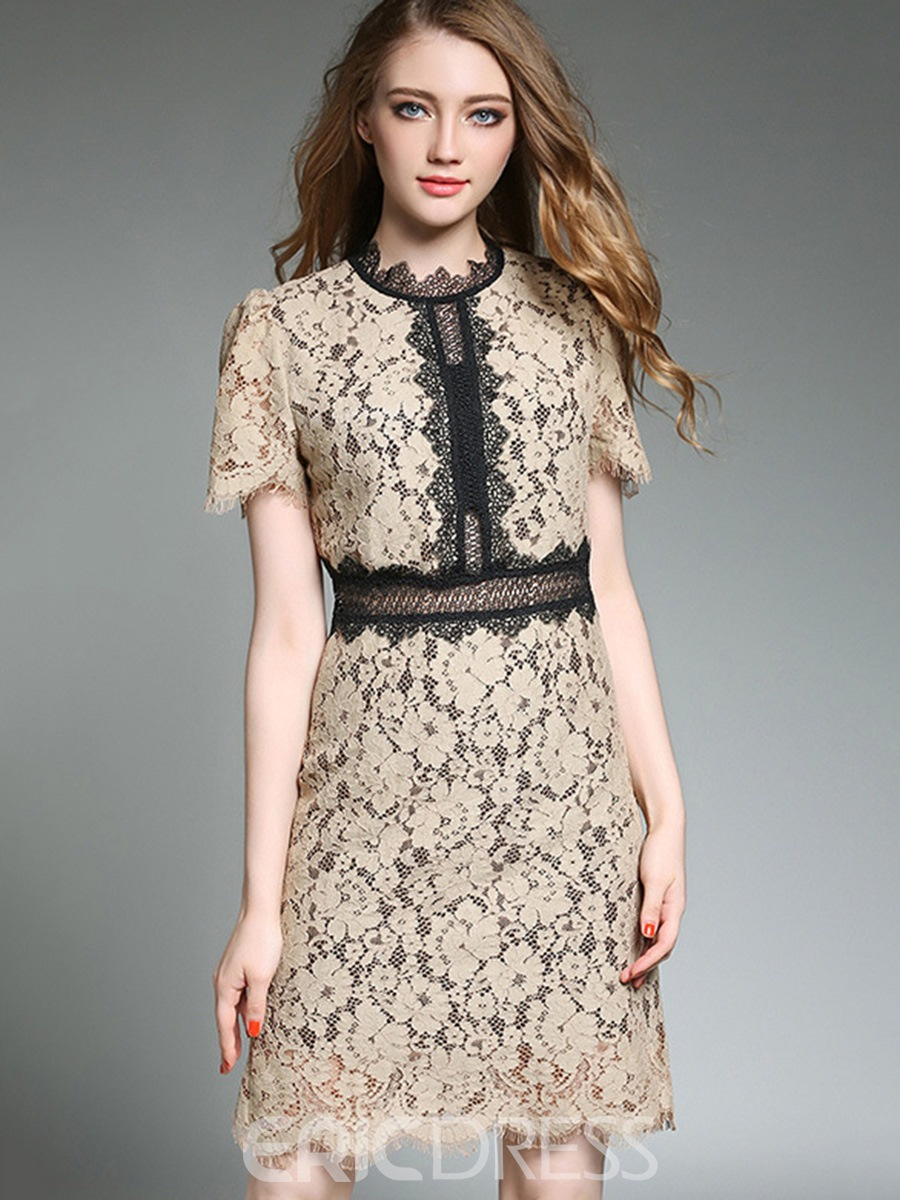 Ericdress Color Block Puff Sleeve Hollow Lace Dress