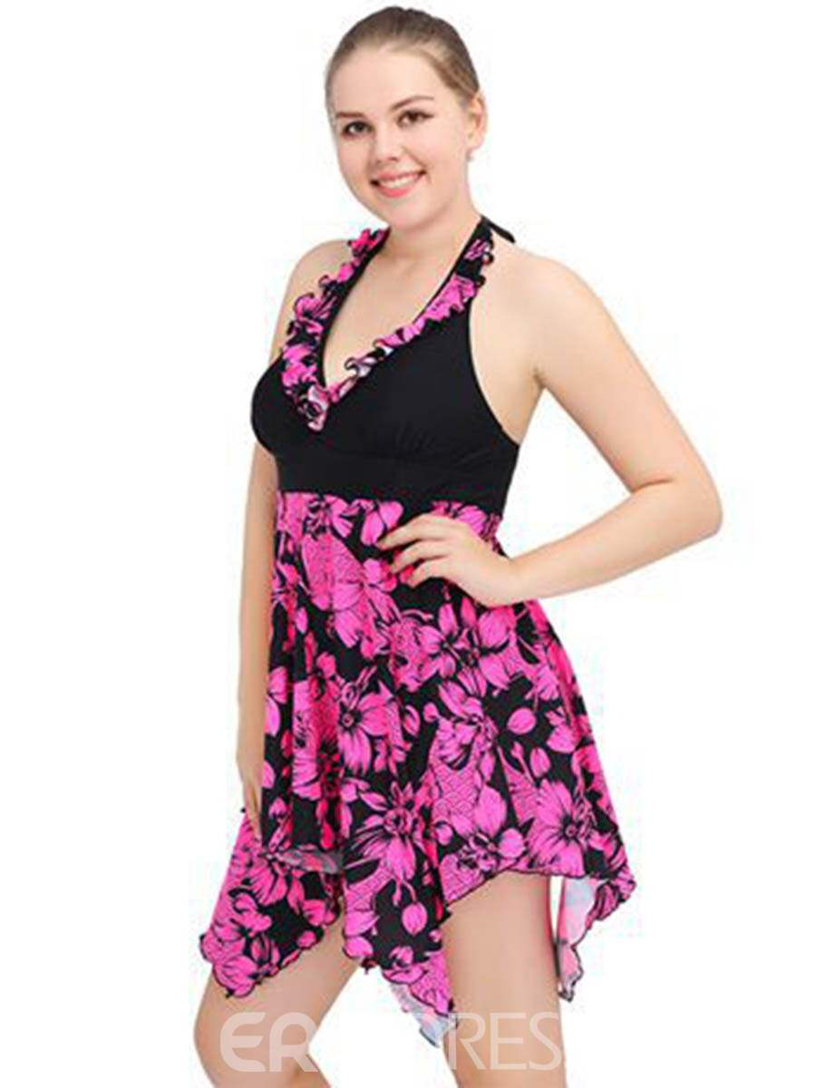 Ericdress Lace-up Floral Border One Peice Plus Size Swimwear