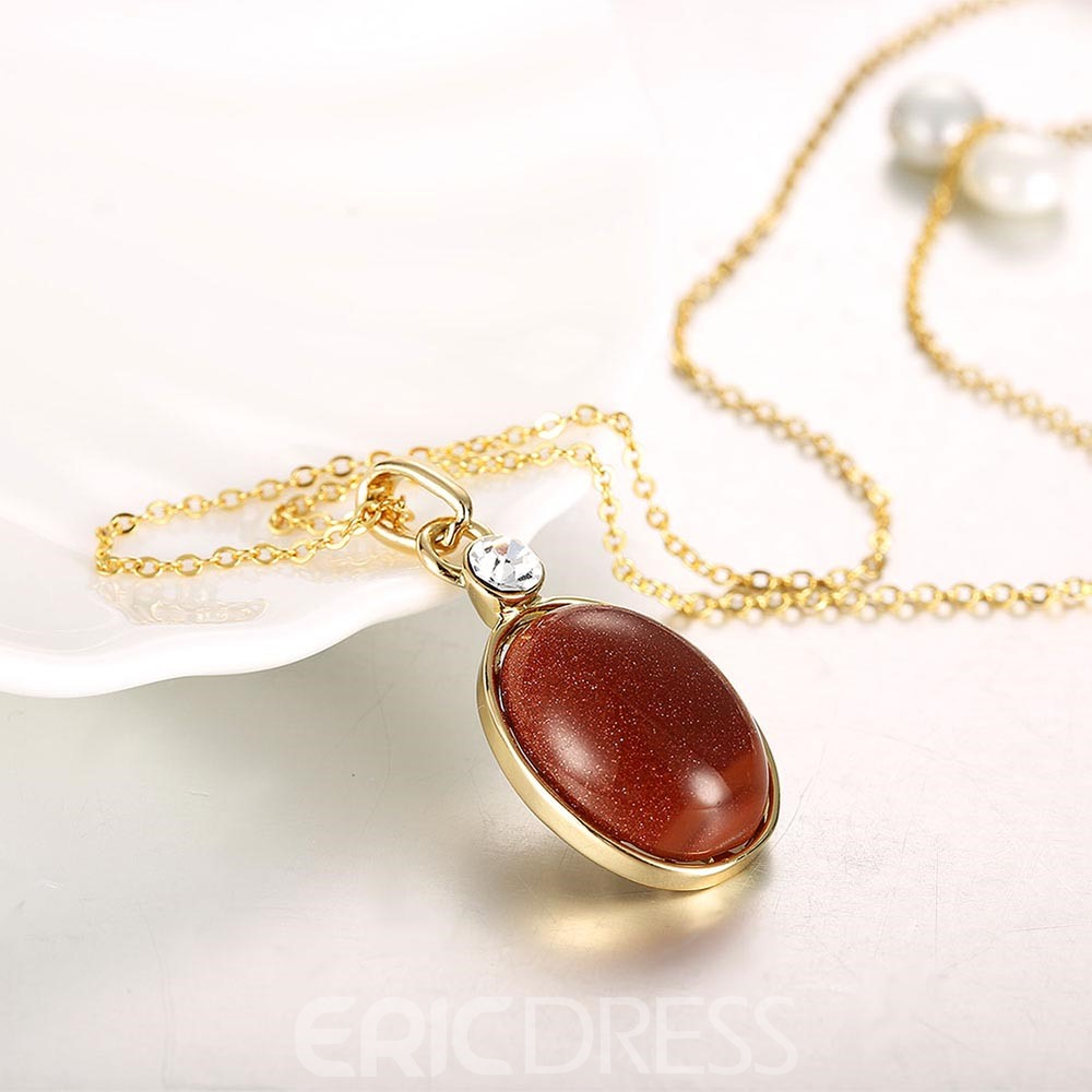 Ericdress Stunning Oval Gem Pendant Necklace