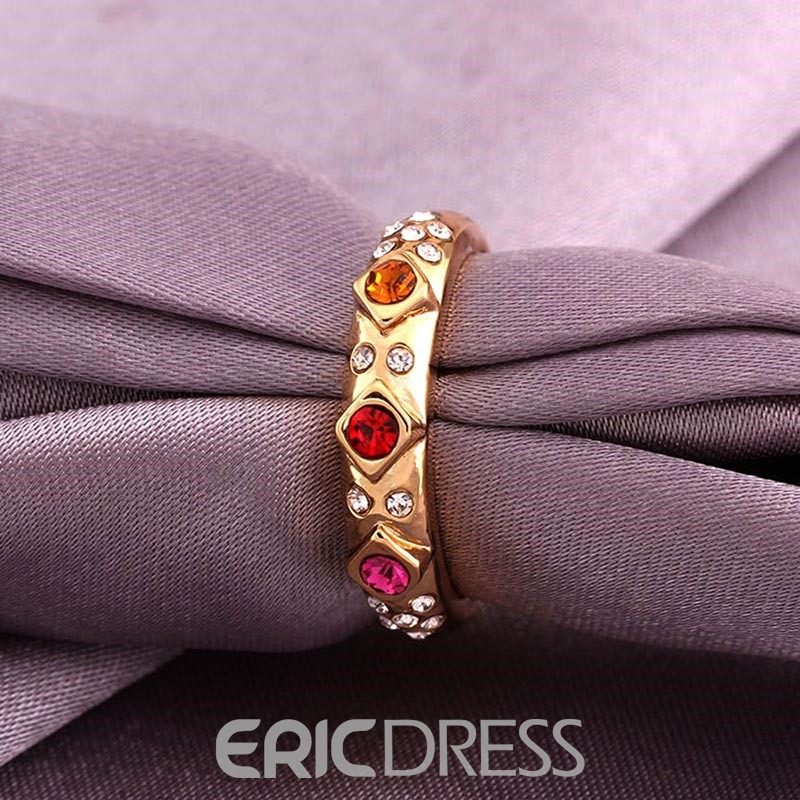 Ericdress Charming Round Cut Zircon Inlay Gold Plated Wedding Ring