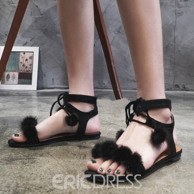 Ericdress Trendy Lace up Open Toe Flat Sandals