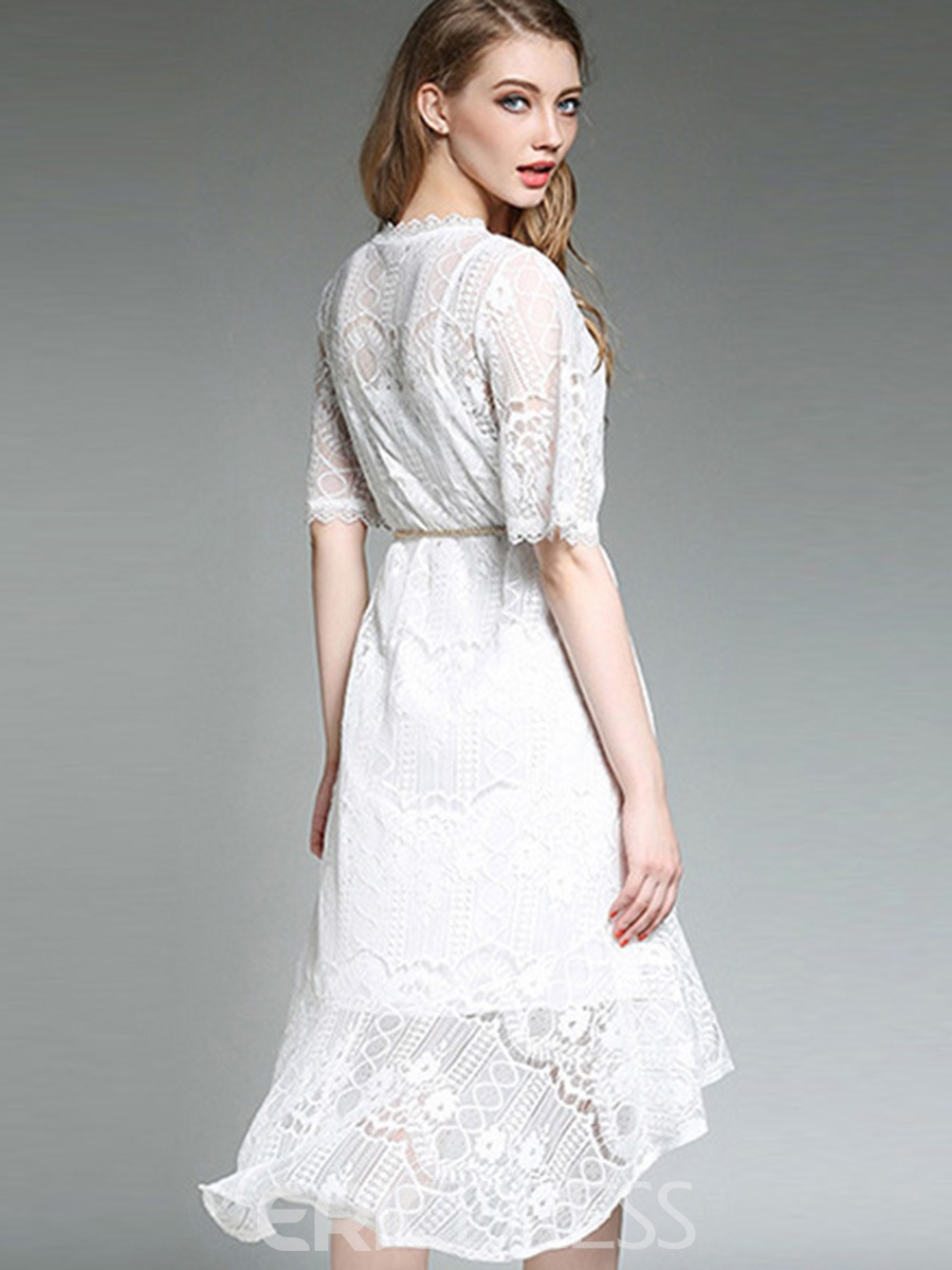 Ericdress Embroidery Hollow Asymmetric Lace Dress