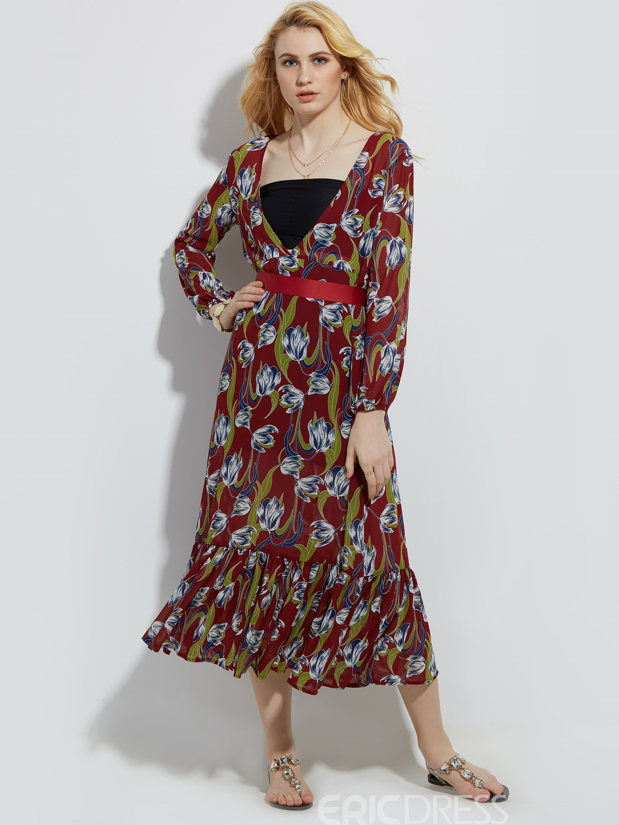 Ericdress V-Neck Flower Print Mermaid Maxi Dress