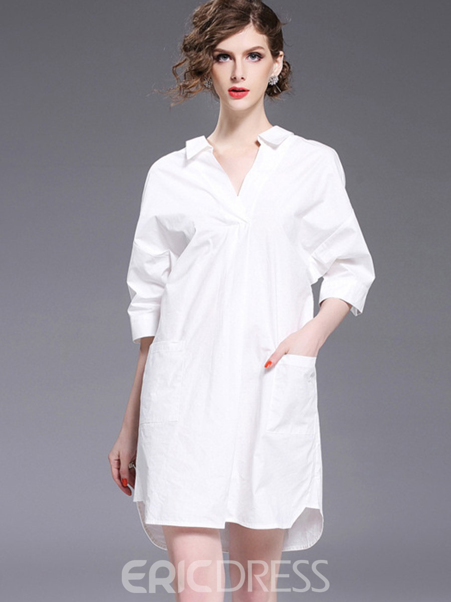 Ericdress Plain V-Neck Pocket Backless Casual Shirt Dress