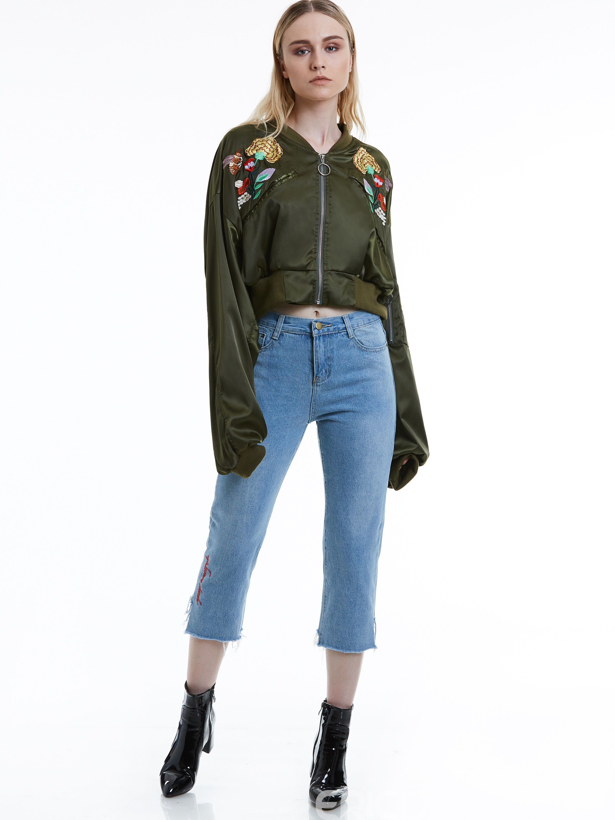 Ericdress Batwing Sleeve Floral Embroidery Jacket