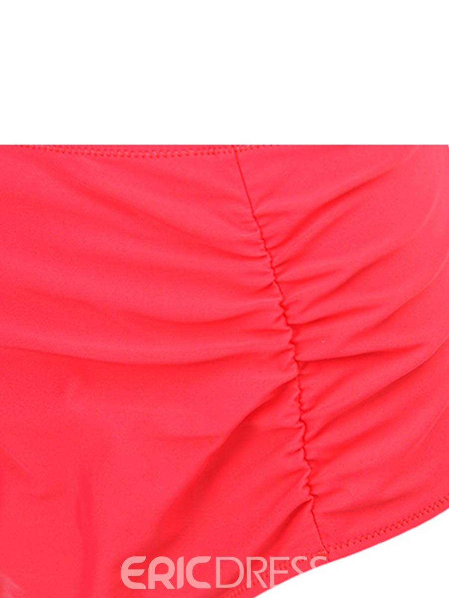 Ericdress Plain Pleated High Waist Plus Size Swimwear