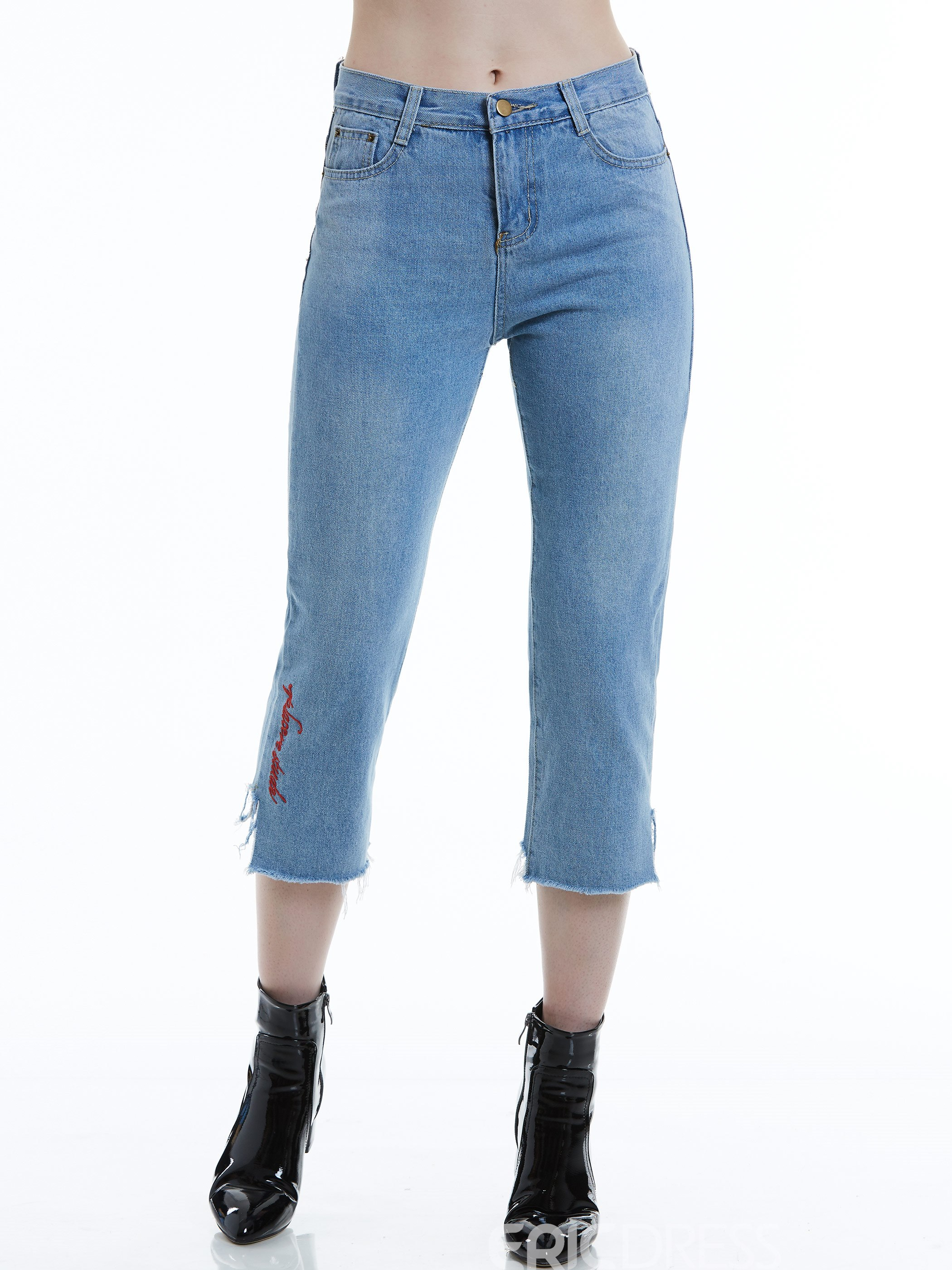 Slim Worn Letter Embroidery Women's Jeans