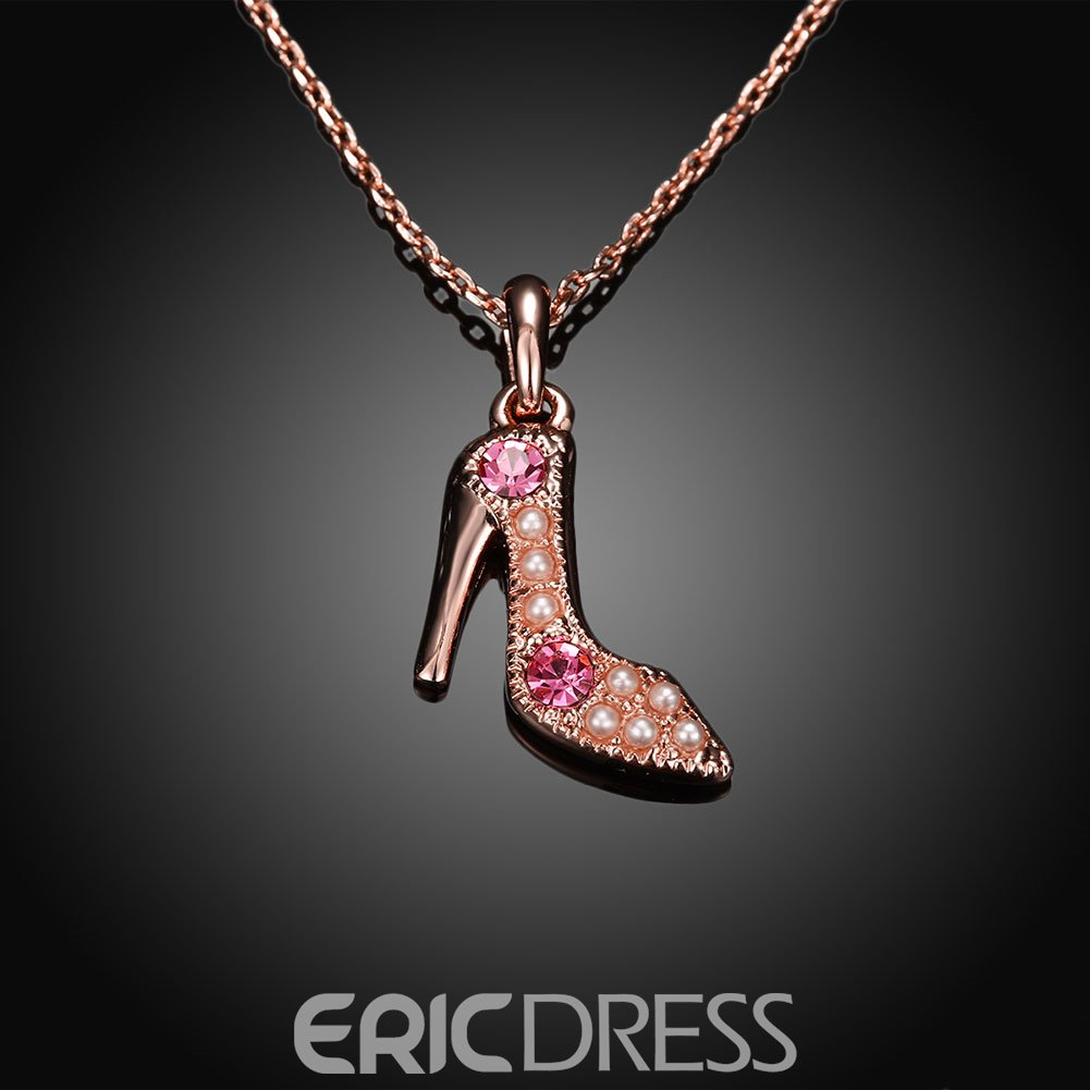 Ericdress Creative High Heel Pendant Rose Gold Necklace