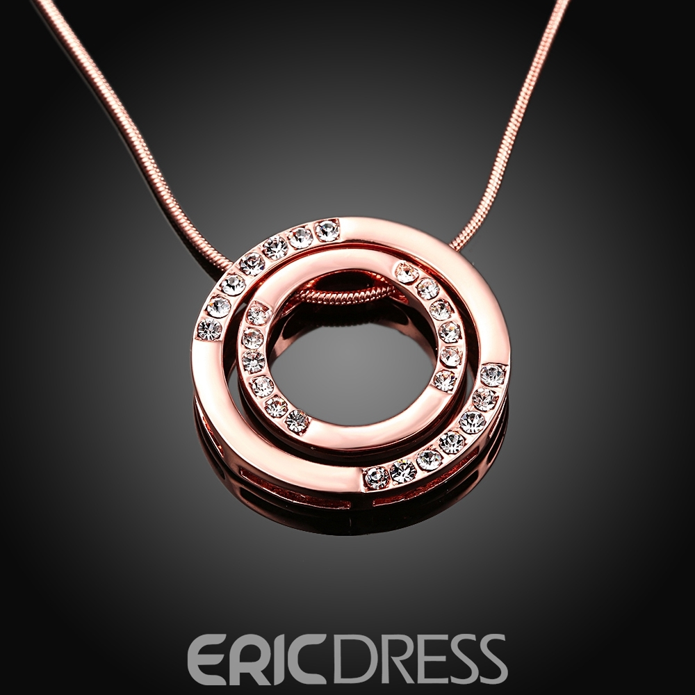 Ericdress Double Circle Pendant Rose Gold Necklace
