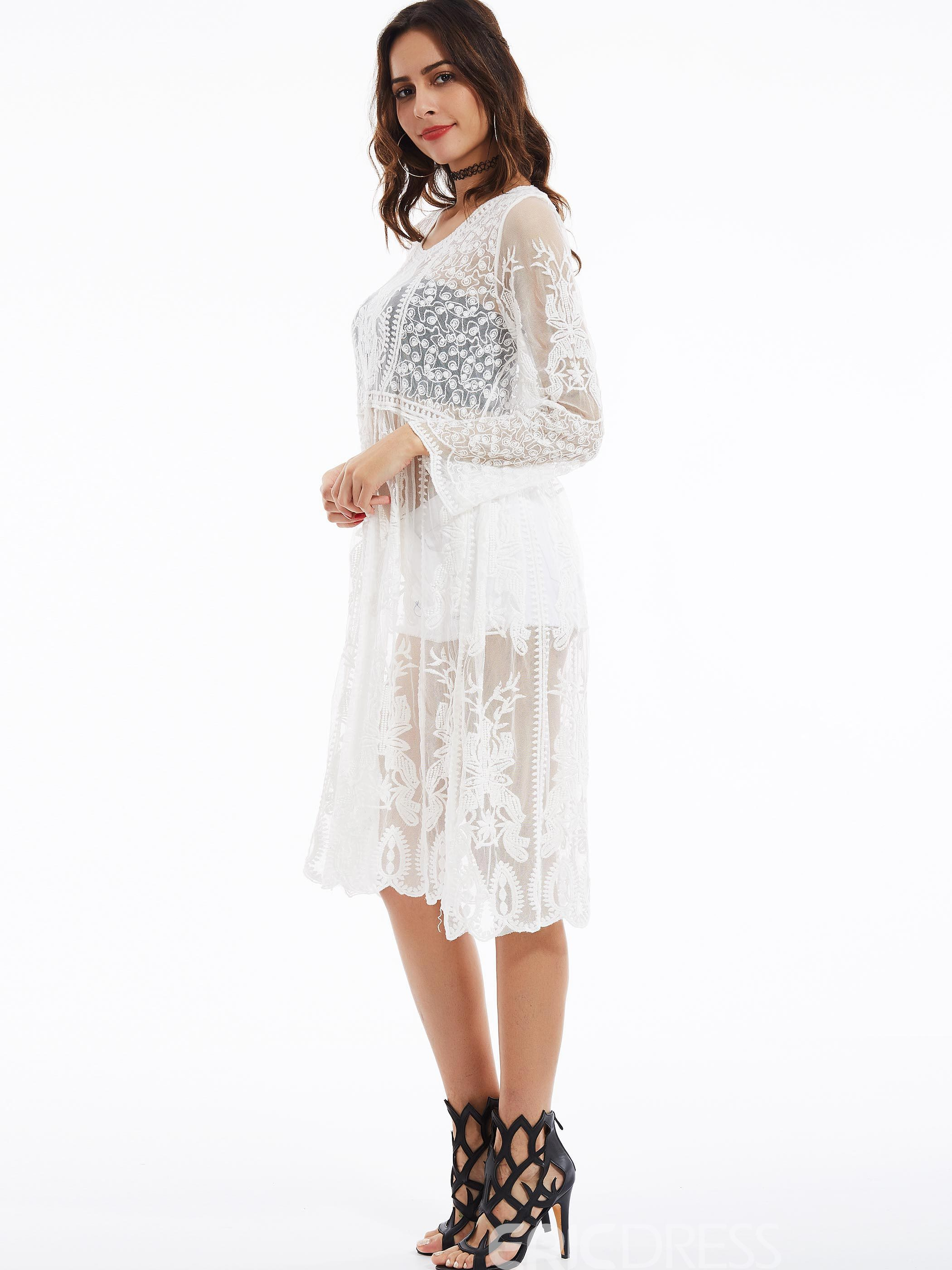 Round Neck Flare Sleeves See-Through Lace Dress