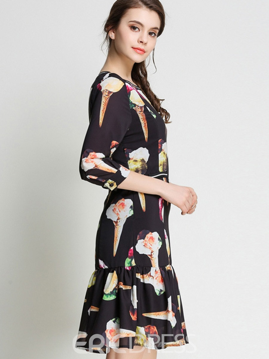 Ericdress Print Pleated 3/4 Length Sleeves A Line Dress