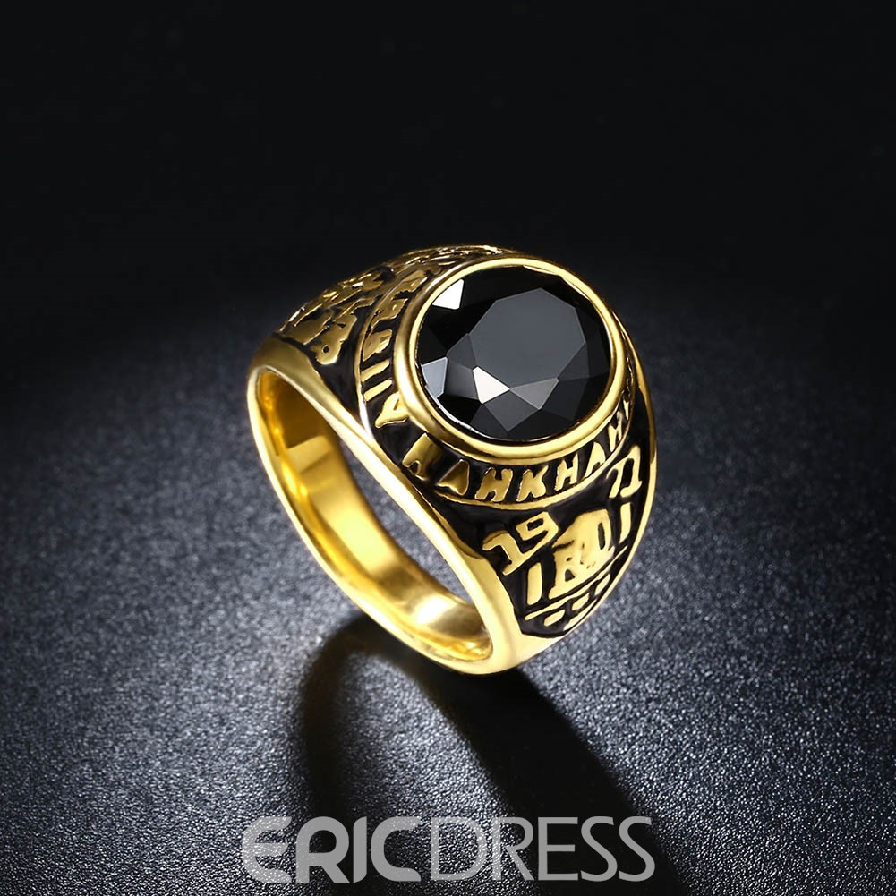 Ericdress Pattern Decorated Men's Titanium Steel Ring