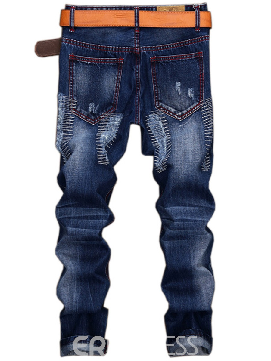 Ericdress Denim Holes Casual Street Style Men's Pants