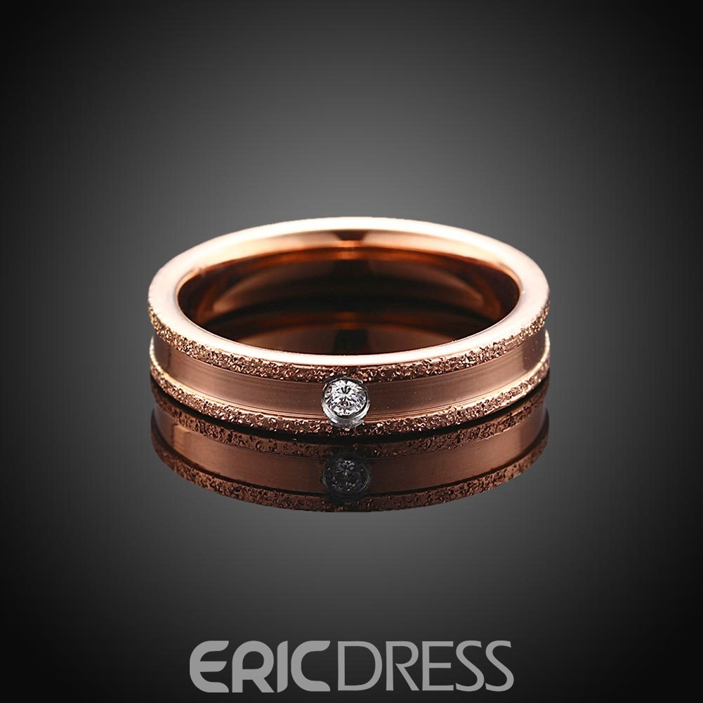 Ericdress Rose Gold Plated Diamante Titanium Steel Ring
