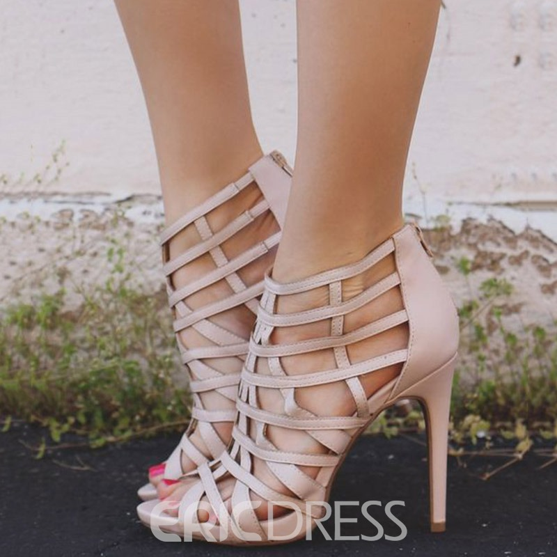 Ericdress Hollow Peep Toe Stiletto Heel Sandals