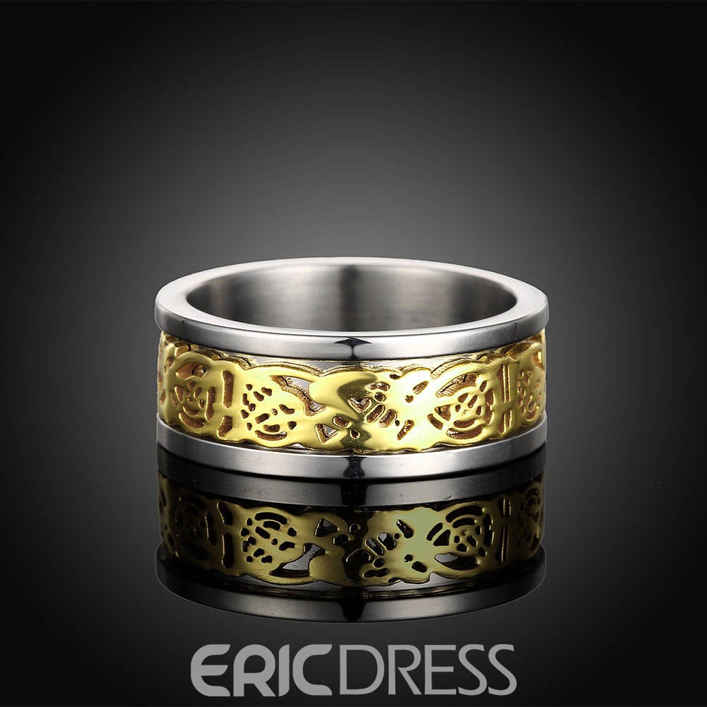 Ericdress Hollow Out Titanium Steel Men's Ring