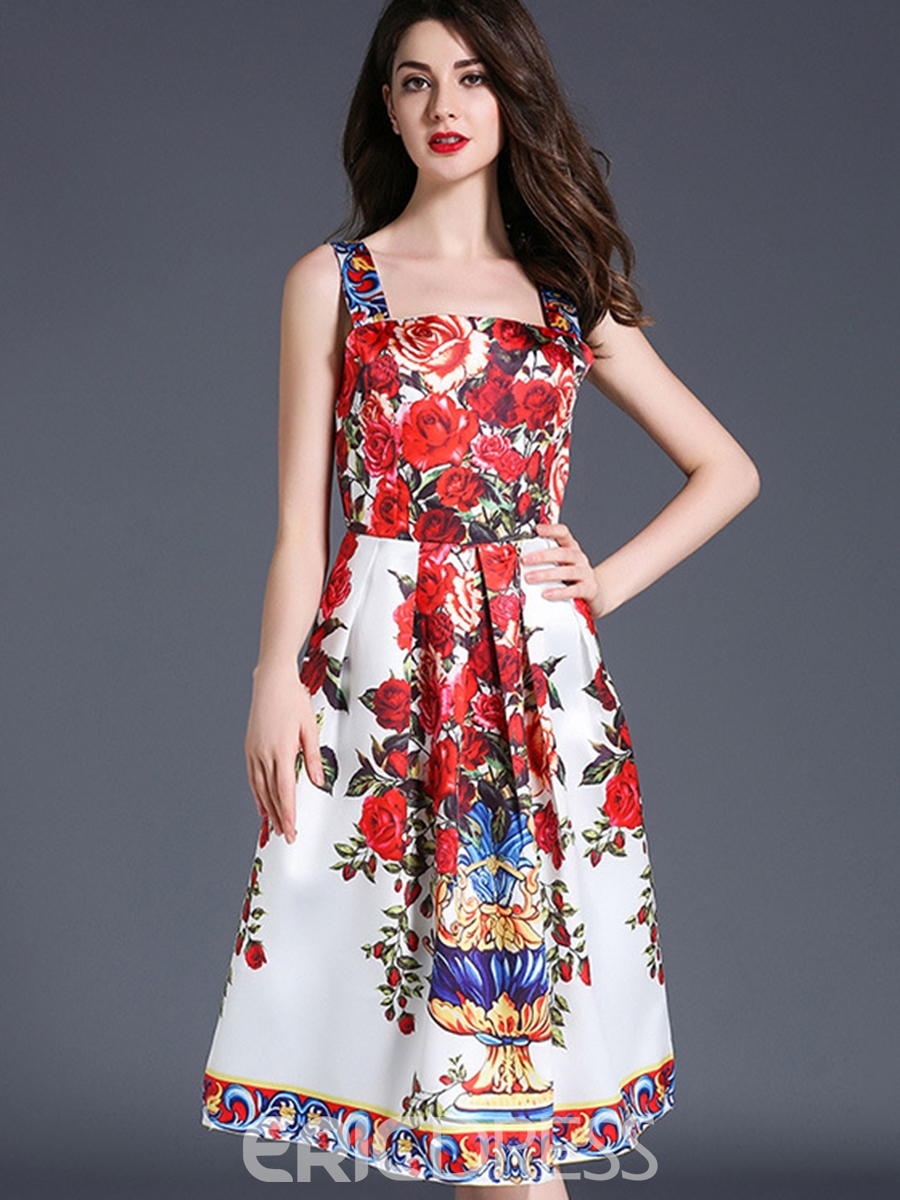 Ericdress Floral Print Square Neck Sleeveless Casual Dress