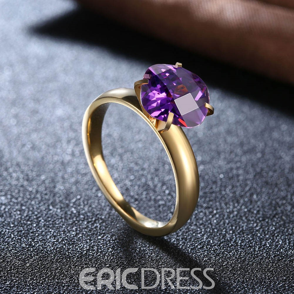 Ericdress Splendid Diamond-Shaped Amethyst Ultra Violet Ring