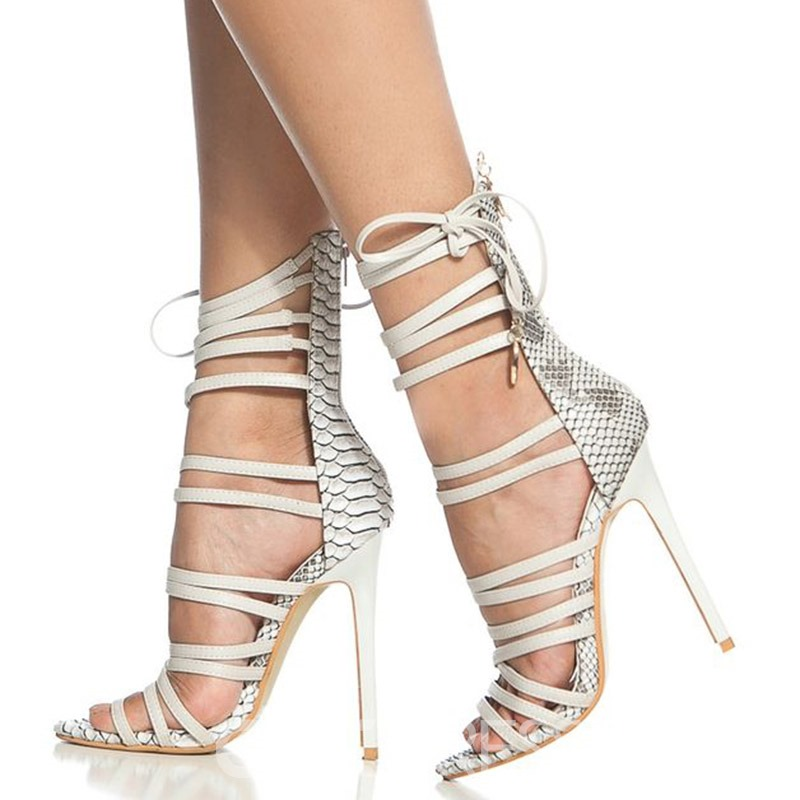 Ericdress Embossed Leather Stiletto Heel Sandals