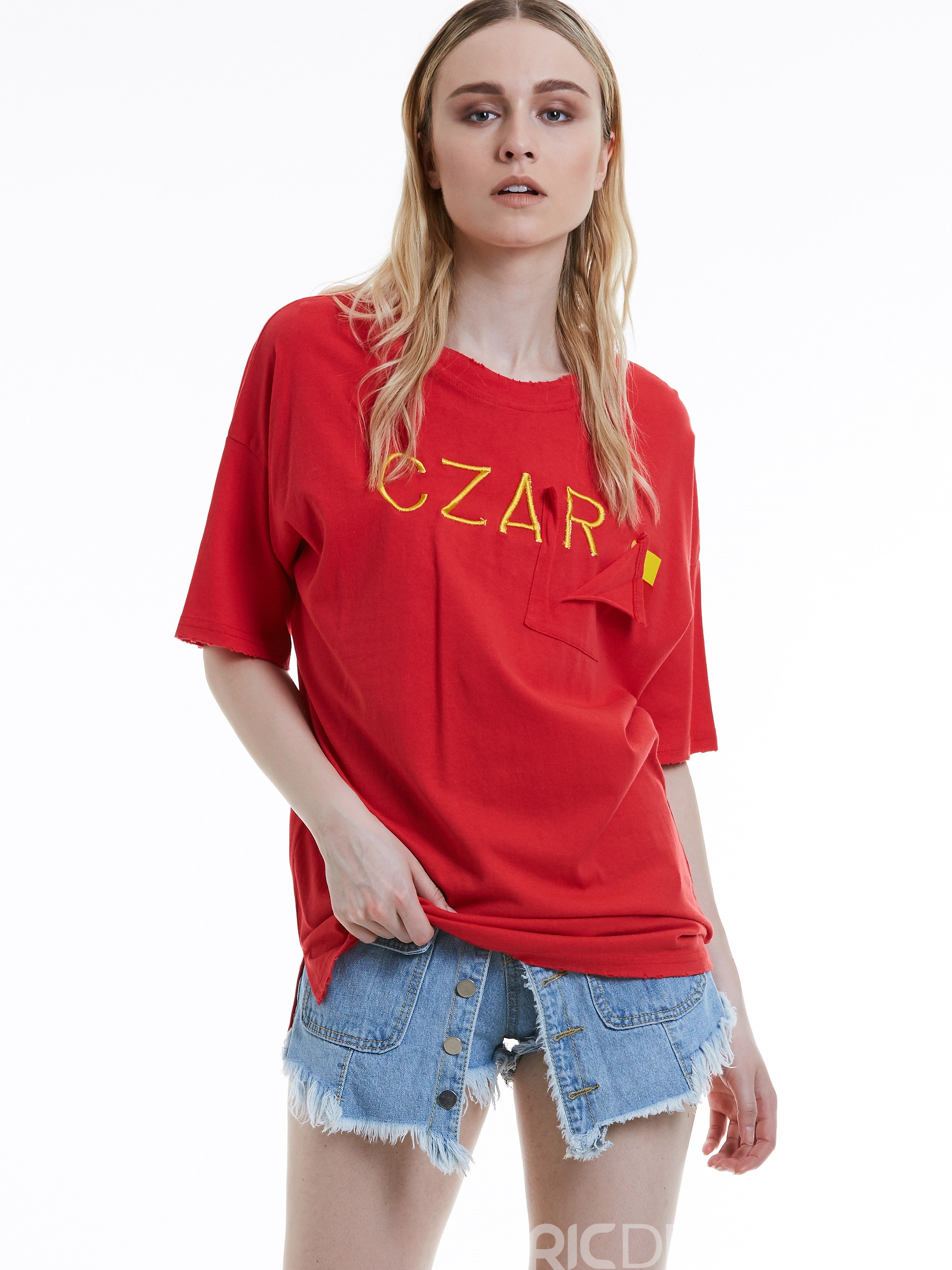 Ericdress Loose Letter Embroidery T-shirt