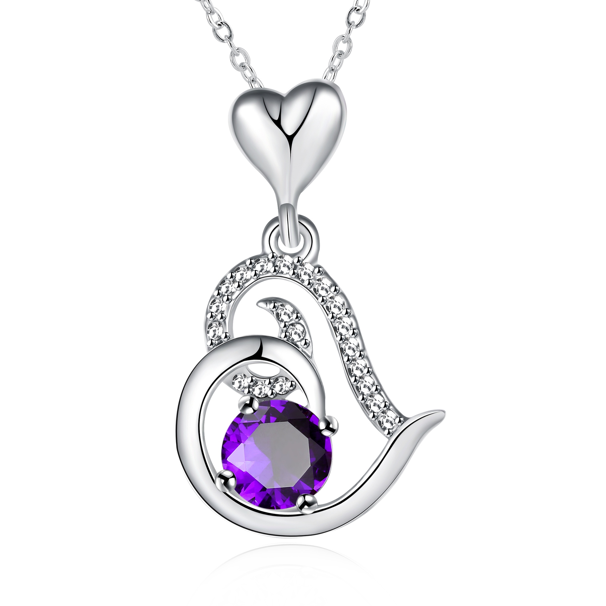 Ericdress High Quality Amethyst Inaly Heart Ultra Violet Pendant Necklace