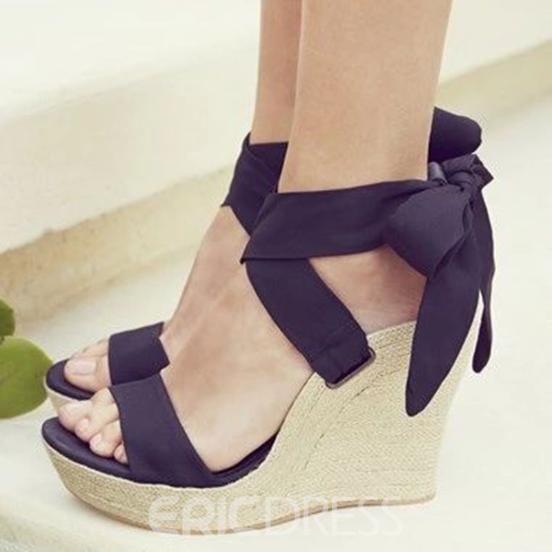 Ericdress Black Bowtie Wedge Heel Sandals