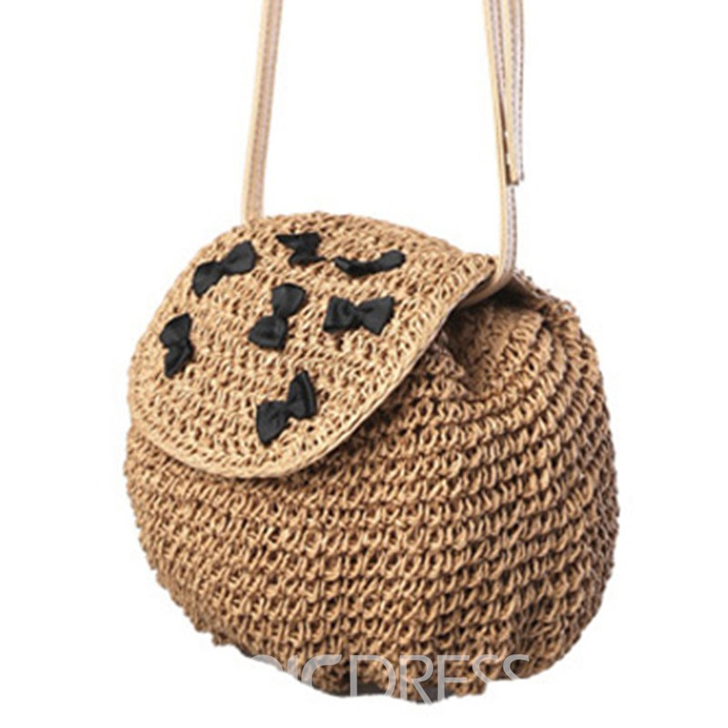 Ericdress Handmade Bowknot Decorated Crochet Straw Shoulder Bag