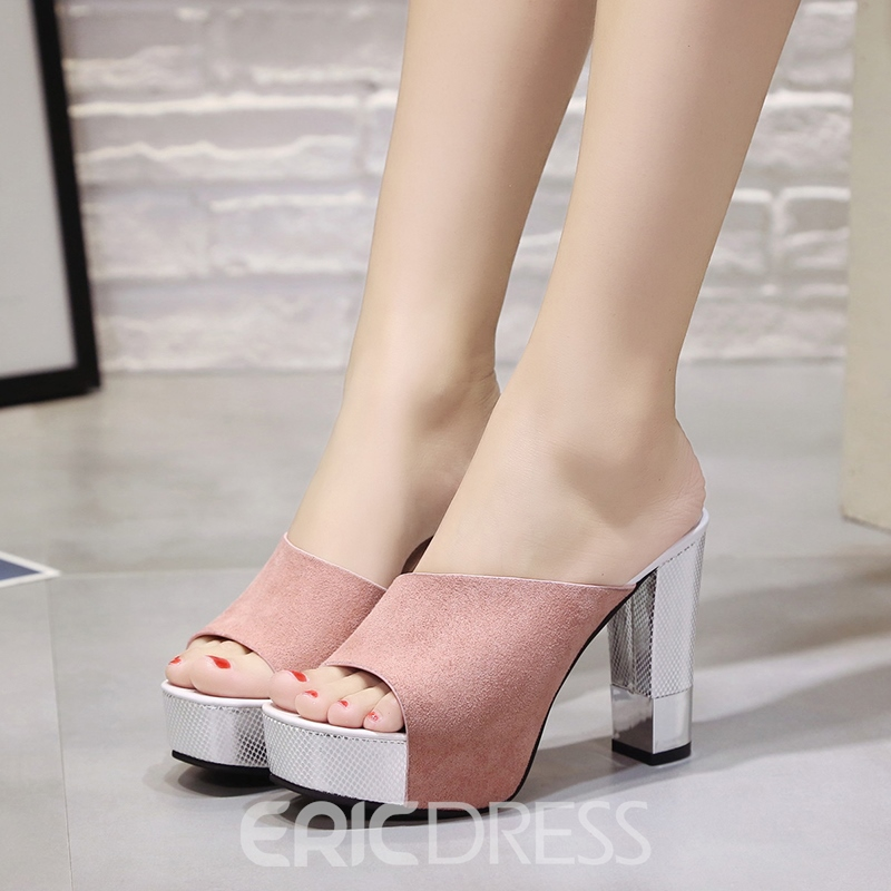 Ericdress Elegant Open Toe Chunky Heel Mules Shoes