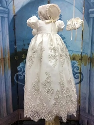 Ericdress Beading Appliques Baby Girls Christening Gown with Bonnet thumbnail