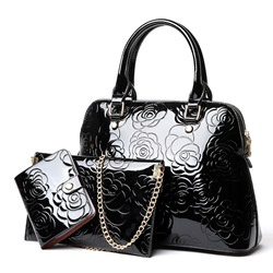 Ericdress Rose Embossing Patent Leather Handbags (3 Bags) thumbnail