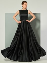 Ericdress A Line Sleevless Lace Back Evening Dress With Ribbon