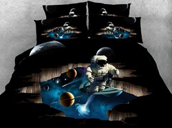 Astronaut and Outer Space Printed Cotton 3D 4-Piece Black Bedding Sets/Duvet Covers