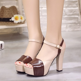 Ericdress Color Block Platform Chunky Sandals