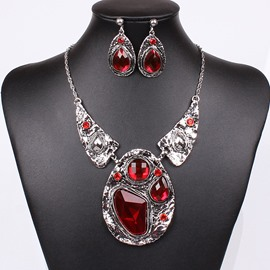 Ericdress vintage ruby ​​inlay brautschmuck set