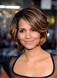 Ericdress Halle Berry Short Layered Bob Straight Synthetic Hair With Bangs Capless Cap Wigs 8 Inches