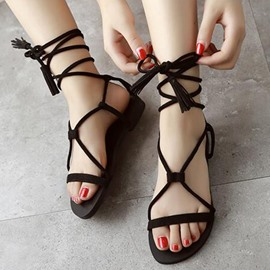 Ericdress Roman Suede Lace up Flat Sandals