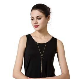 Ericdress Gold Plated Circle Pendant Long Charm Necklace