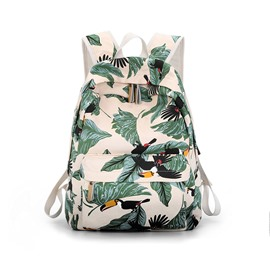 Ericdress Cartoon Bird Print Canvas Backpack