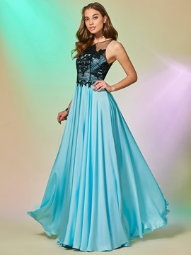 Ericdress A Line Applique Button Back Long Prom Dress