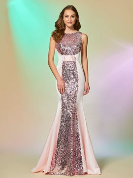 Ericdress Scoop Neck Sequin Mermaid Prom Dress With Bowknot
