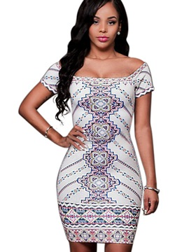 Ericdress Simple Print Slash Neck Short Sleeve Bodycon Dress