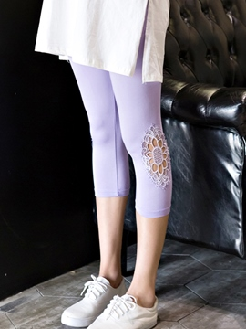 Ericdress Lace Hollow Capri Leggings Pants