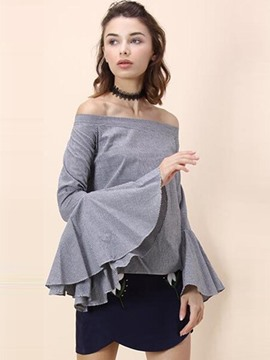 Ericdress Off Shoulder Bell Sleeve T-Shirt