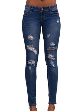 Ericdress Skinny Denim Worn Women's Ripped Jeans