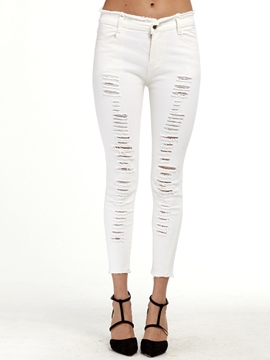 Ericdress Low Waisted Tight White Women's Jeans