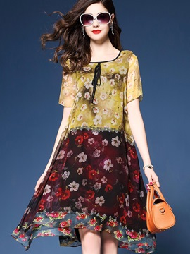 Ericdress Color Block Vintage Print Expansion Silk Casual Dress