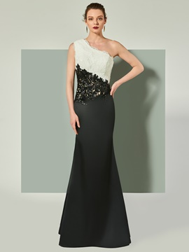 Ericdress Sheath One Shoulder Applique Lace Mermaid Evening Dress