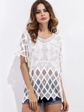 Ericdress Lace Crochet Beachwear Blouse