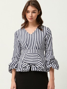 Ericdress Puff Sleeve Striped Blouse